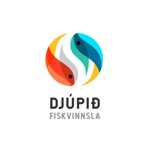 Best design with the title 'Two symmetrical fish logo'