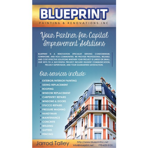 Home improvement design with the title 'Blueprint - ad'