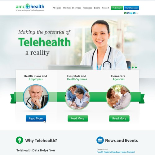 Doctor website with the title 'Create the next website design for AMC Health'