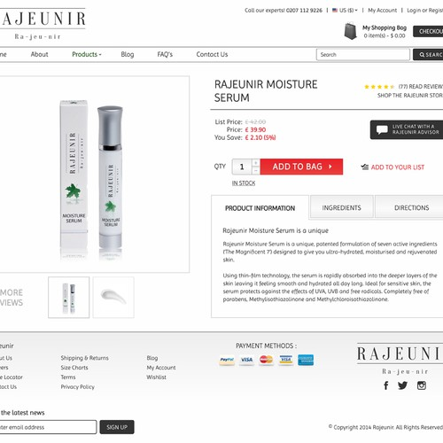 Product design website with the title 'rajeunir.co.uk Web Site'