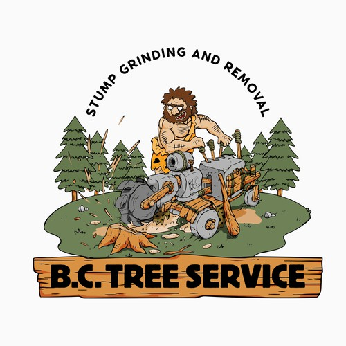 Primitive logo with the title 'Logo design for tree stump removal.'