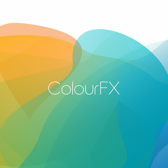 Yellow and blue design with the title 'Logo for ColourFX'