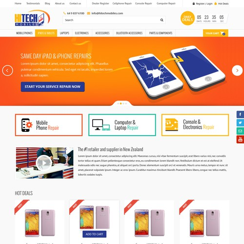 Shopping cart design with the title 'Modern Responsive Design for Hitech Mobiles Website'