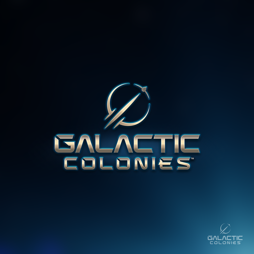 Space logo with the title 'Galactic Colonies Sci-Fi Game logo (1-to-1 project)'