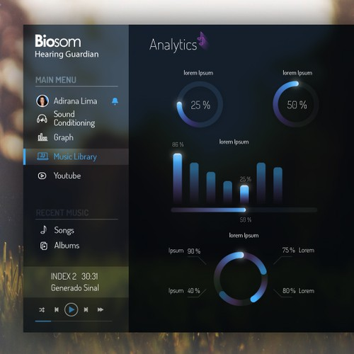Scale design with the title 'Design an desktop software interface for Biosom - Hearing Guardian version 2'