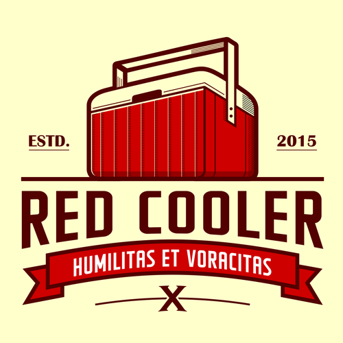 Beer glass logo with the title 'Vintage Red Cooler Logo'