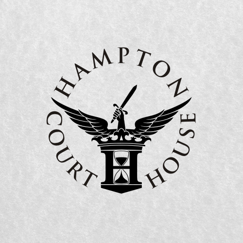 Hourglass design with the title 'Create the next logo for None / Hampton Court House / HCH'