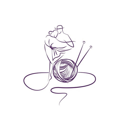 Crochet logo with the title 'Line- art logo for handmade knitting business'