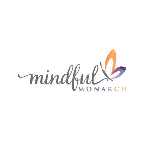 Orange and purple logo with the title 'mindful monarch'