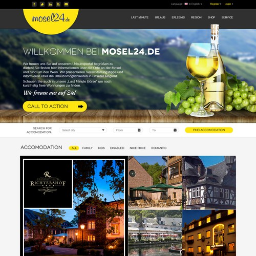Yellow website with the title 'Amazing Webdesign contest - Mosel24'