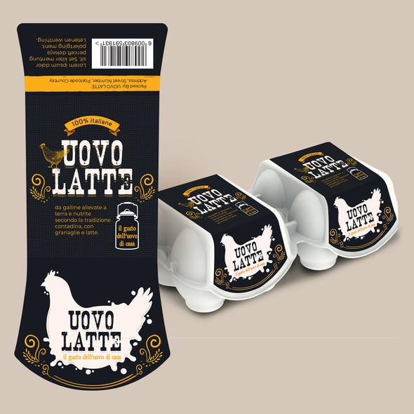Milk label with the title 'UOVO Latte Eggs Packaging'