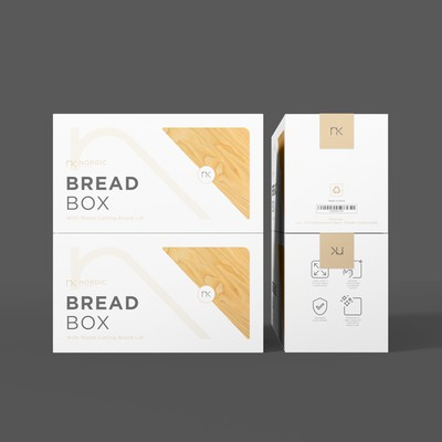 Stylish, modern box packaging needed for our premium Nordic inspired Bread Bin.