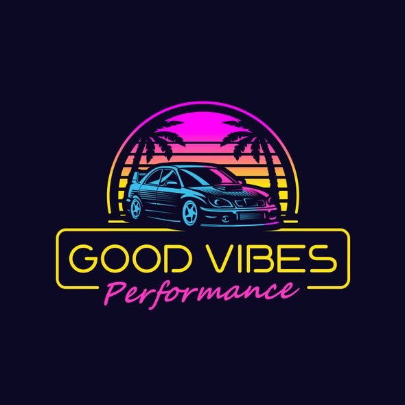 """Car parts logo with the title 'Logo for """"Good Vibes Performance#.'"""