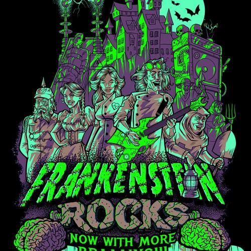 Halloween design with the title 'Frankenstein Rocks tee-shirt design. '