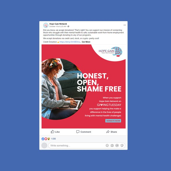 Community design with the title 'Facebook Creative for Non Profit Organization'