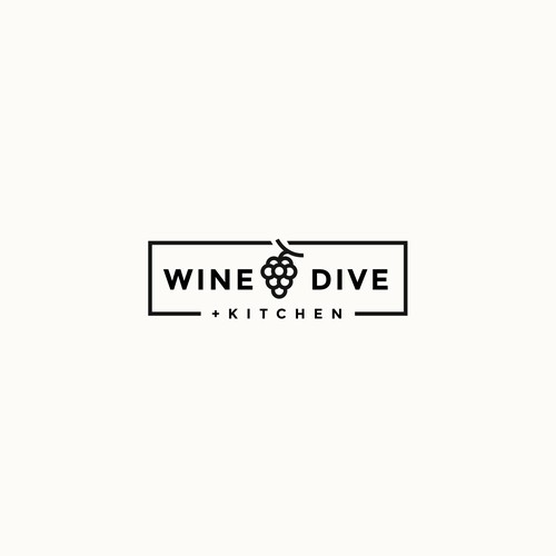 Kitchen logo with the title 'Wine Dive +Kitchen logo'
