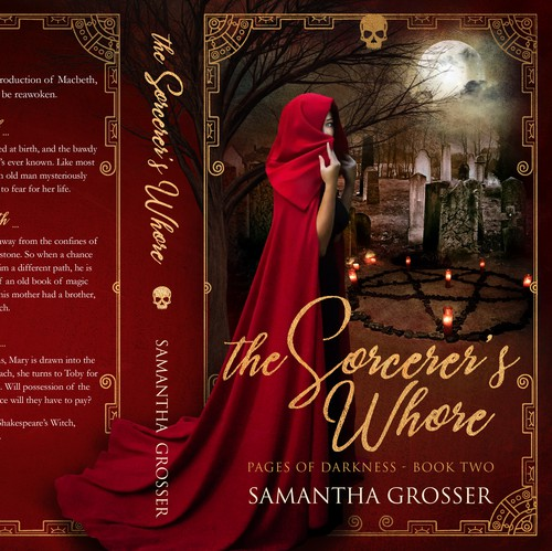 Magic book cover with the title 'The Sorcerer's Whore - Paranormal Mystery'