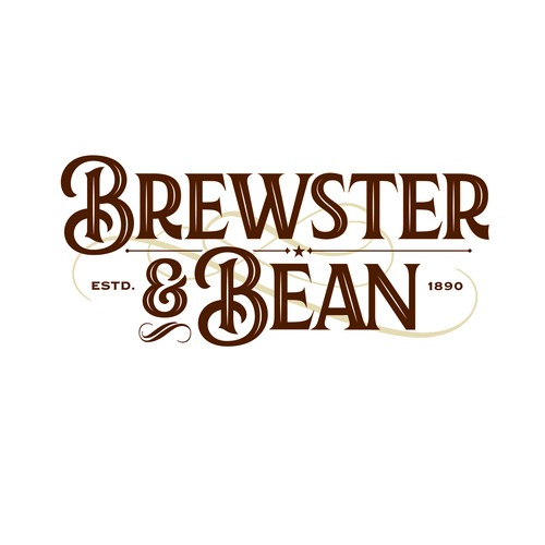 Chandelier logo with the title 'Brewster and Bean Coffee Shop Logo'