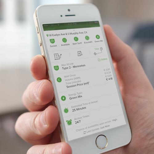Tesla design with the title 'EV Charging Station App'