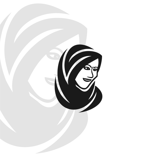 Hijab design with the title 'woman logo'