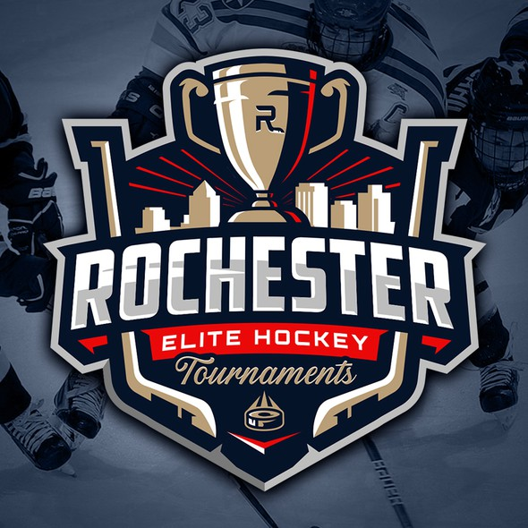 Trophy logo with the title 'Rochester Elite Hockey Tournaments'