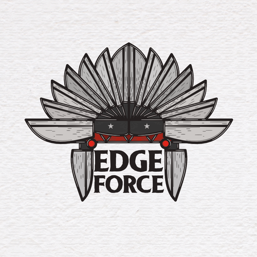 Self-defense logo with the title 'Native american knives headdress'