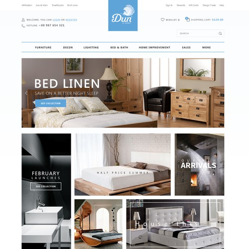 Bedroom design with the title 'Simple, modern and bright webshop with bedroom stuff'
