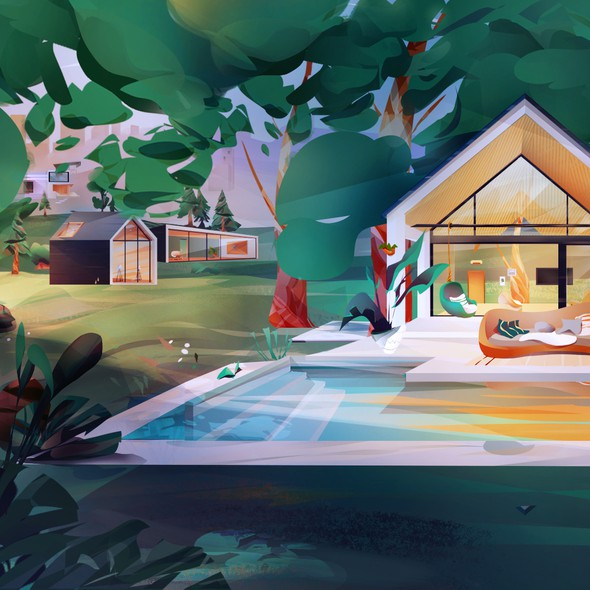 Scene design with the title 'Cozy neighborhood sunset mode'