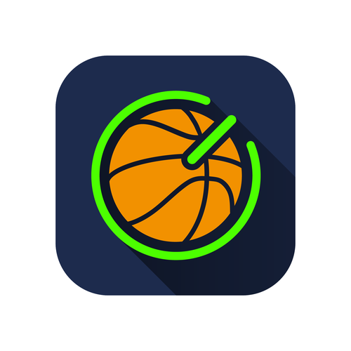 Basket logo with the title 'GameON Basketball Mobile App'