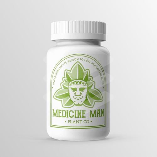 Aztec logo with the title 'Medicine Man Logo for natural medicine line'
