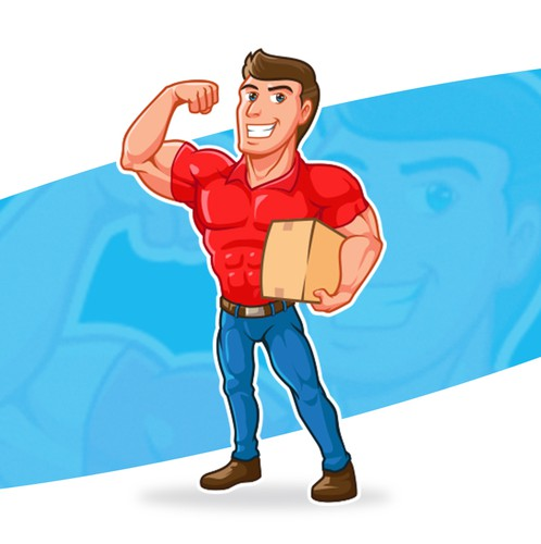 Mascot logo with the title 'Mr. Muscles Moving'