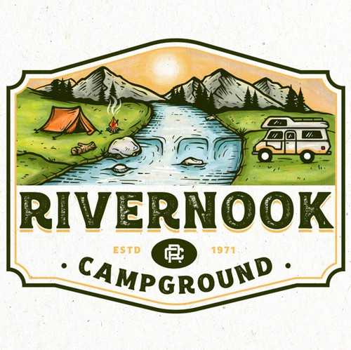 RV design with the title 'Rivernook Campground'