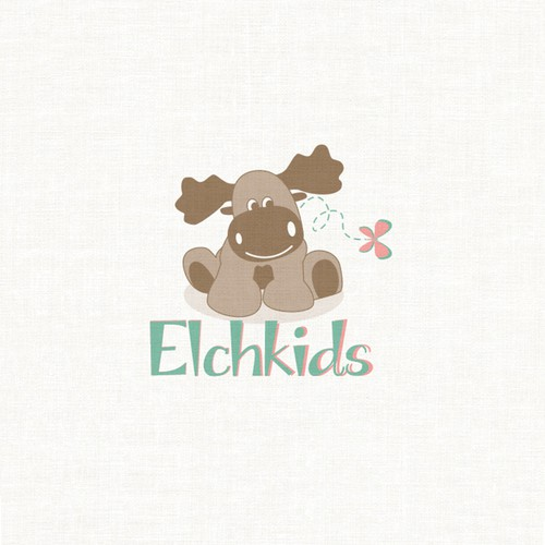 Green and pink logo with the title 'cute kids logo'
