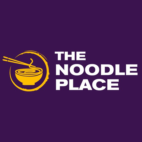 Purple and yellow logo with the title 'The Noodle Place - new fast food chain in Vietnam'