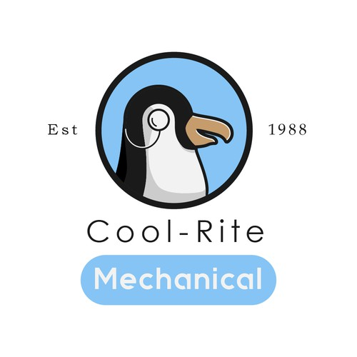 HVAC logo with the title 'Illustrative-style Logo for Cool Rite Mechanical, Inc.'
