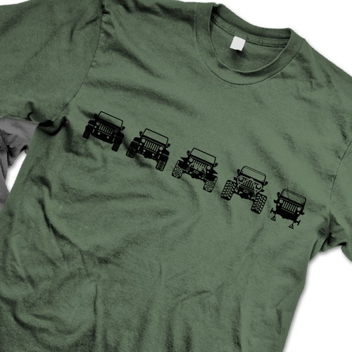 Evolution design with the title 'Evolution of Trail Jeeps Tee'