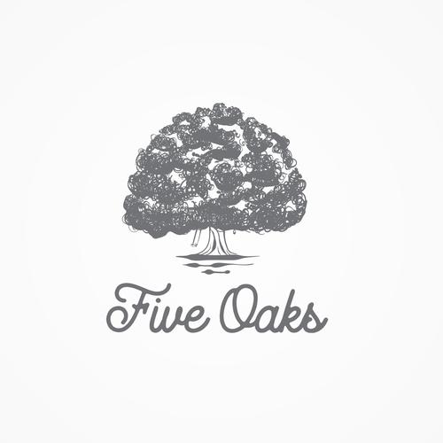 Oak tree logo with the title 'Five Oak Logo'