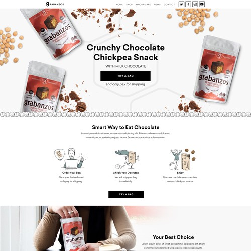 Illustration website with the title 'Modern website for Antithesis Foods'