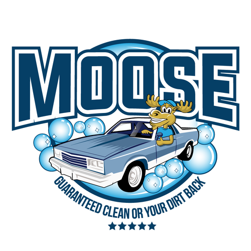 Dirty logo with the title 'Moose Illustration logo style for Cleaning Car Company'