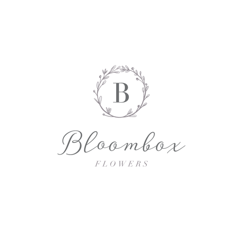 Wreath logo with the title 'Flower business logo design'
