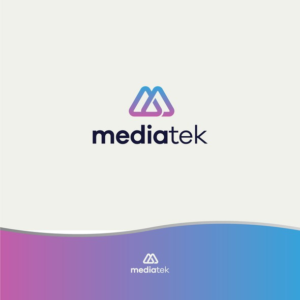 Purple and blue design with the title 'The iconic logo for a multi media marketing company'