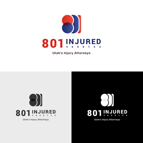 Attorney logo with the title '801 INJURED Logo Concept'