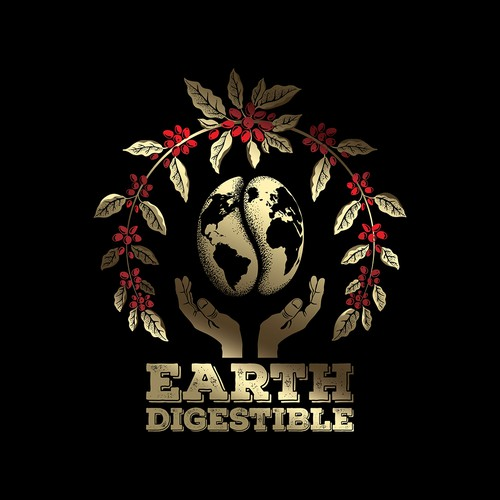 Coffee illustration with the title 'Earth Digestible emblem illustration.'