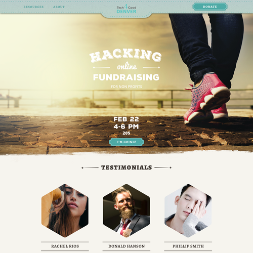 One page website with the title 'Retro style website for company organizing technology education events'