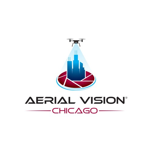 Chicago logo with the title 'Dynamic 3D style logo'