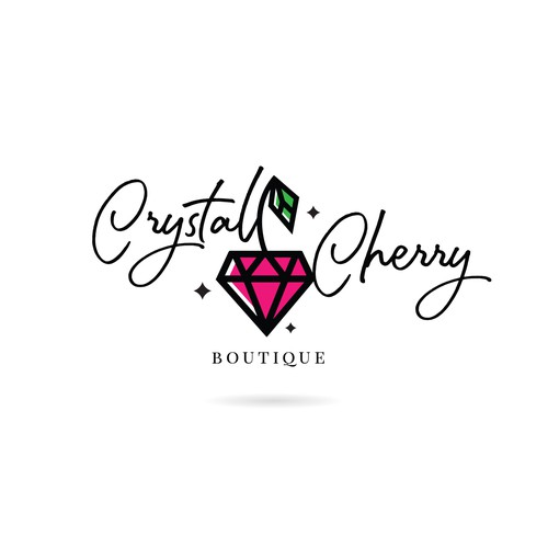 Pink and green design with the title 'Logo design for Crystal Cherry Boutique'