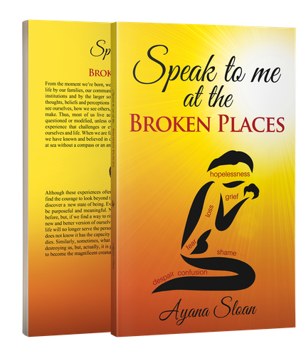 Christian book cover with the title 'Speak to me at the BROKEN PLACES'
