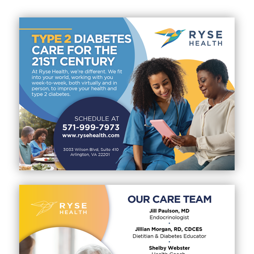 Diabetes design with the title 'Informational postcard design'