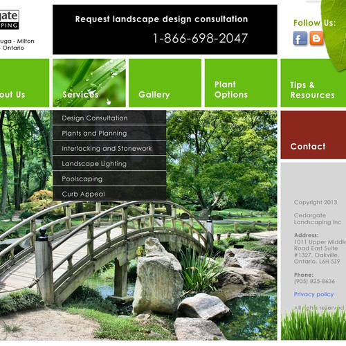 Metro design with the title 'Help Cedargate Landscaping With A Bold and Exciting Web Design'