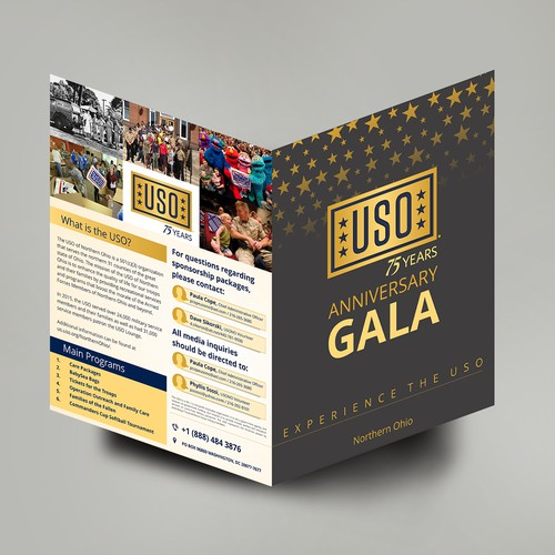 Anniversary design with the title 'Bifold for USO 75th Anniversary'